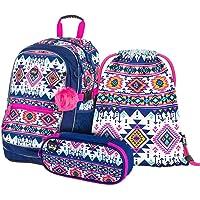 Schulrucksack Set 3 Mädchen Teilig, Schultasche ab 3. Klasse, Grundschule Ranzen mit Brustgurt, Ergonomischer…