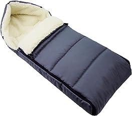 BAMBINIWELT universaler Winterfußsack (90cm), auch geeignet für Babyschale, Kinderwagen, Buggy, aus Wolle UNI liniert DUNKELGRAU