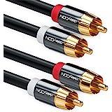 deleyCON 3,0m Cinch-Kabel Stereoljud Cinch RCA-Kabel 2x Cinch-Kontakt för 2x Cinch-Kontakt HiFi-System HiFi-Mottagare Hemmabi