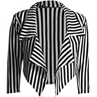 ZEE FASHION Womens Ladies Black & White Striped Waterfall Blazer Jacket