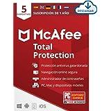 McAfee Total Protection 2021, 5 Dispositivos, 1 Año, Software Antivirus, Seguridad de Internet, Manager de Contraseñas, Segur