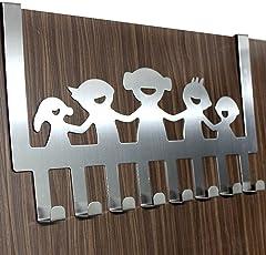 HOME CUBE Happy Family 8 Stainless Steel Door Hook Organiser,Silver,40 X 23 X 4 Cm