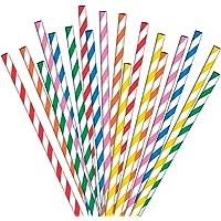 Pailles en papier ANSIO 200 multicolores, idéales pour les cocktails, les boissons froides et les jus de fruits adaptés…
