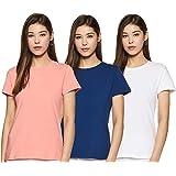 Amazon Brand - Symbol Women's Solid Regular Fit Half Sleeve T-Shirt (Combo Pack of 3)
