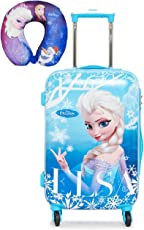 """GAMME Polycarbonate Children's Luggage Trolley 20"""" Blue Frozen with Free Disney Frozen Character Neck Pillow U Type Pillow Cushion"""