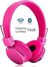 Termichy Kabellos Bluetooth Kopfhörer Kinder mit 93db Lautstärkenbeschränkung, Faltbare Tragbare Leicht kopfhoerer mit Frei Abnehmbarem Kabel, On-Ear Stereo Kopfhörer mit Shareport Musik-Anteil, Eingebautes Mikrofon für die Freisprechfunktion.(Rosa)