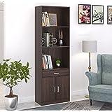 Bluewud Seonn Engineered Wood Bookshelf with Drawer and 2 Door Storage Cabinet (Wenge , Set of 3 Shelves)