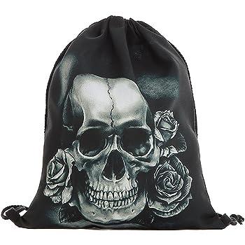 NEU RUCKSACK TOTENKOPF in schwarz SCHULTERTASCHE Skull GOTHIC Punk BEUTEL Metal
