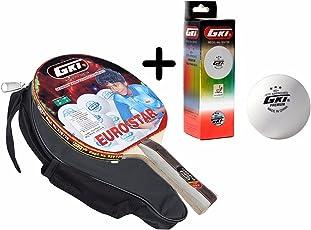 GKI Euro Star Table Tennis Combo Set (GKI Euro Star Table Tennis Racquet + GKI Premium 3 Star 40 Table Tennis Ball, Box of 3 - White)