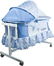 BAYBEE Little Nest Bassinet Cradle with Mosquito Net Canopy and Wheels (Mixed colour)