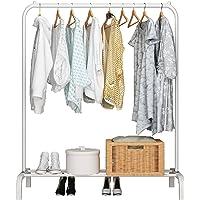 UDEAR Porte-vêtement Autoportant Cintre Multifonctionnel Unipolaire Chambre Vêtements Rack Chambre, Blanc