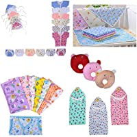 Fareto® New Born Baby Combo Of Daily Needs Items In A Singe Packet/6 Front Open Shirt,6 Nappies,6 Caps/ 8 Baby Jhabla With 8 Nappies/ 4 Diaper Changing Sheets/3 U-Shape Pillows/ 3 Cotton Blanket (0-3 Months, Multicolors)
