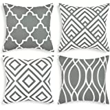 Alishomtll Geometric Cushion Covers 18x18 Inches Soft Throw Pillow Covers Square Pillow Cases 45 x 45cm for Sofa Bedroom (Gre