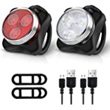 Ascher Rechargeable LED Bike Lights Set - Headlight Taillight Combinations LED Bicycle Light Set (650mah Lithium Battery, 4 L