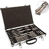 STIER SDS-Plus Bohrer & Meißelsatz, 17-tlg Set im Metallkoffer, SDS-Plus Spitzmeißel, SDS-Plus Flachmeißel, SDS-Plus Breitmei