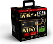 Optimum Nutrition Gold Standard 100% Whey Protein Powder, Double Rich Chocolate, 5 Lb + L-Glutamine Muscle Recovery Powder,