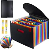 TECHTEST24 Pocket Expanding File Folder with Cover - Large Plastic Rainbow Expandable File Organizer Self Standing Accordion
