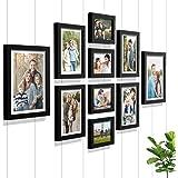 Art Street - Set of 10 Individual Black Wall Photo Frames Wall Hanging (Mix Size)(4 Units 5X7,4 Units 6X8 2 Units 8X10…