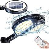 Luz Solar Exterior, Foco Led Solar Exterior con Sensor de Movimiento, 3 Modos de Iluminación, con Mando a Distancia, IP65 Imp