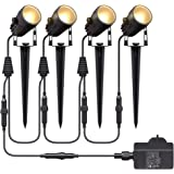 Aogled Spot LED Extérieur,4x3W COB Éclairage de Jardin,IP65 Étanche Paysage Lampe Spot 12V,1800LM 3000K Lampes de Jardin exté