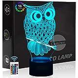 Comiwe Uil (A) 3D Illusie Nachtlampje Speelgoed,16 Kleuren Veranderen Afstandsbediening,Huisdecoratie Verlichting LED Tafella