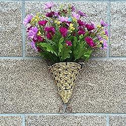 OLQMY-Tejido a mano, hangings de la pared de hierro forjado, canastas, adornos de decoración para el hogar, florero de pared, 30 * 16. 5 cm,Oro