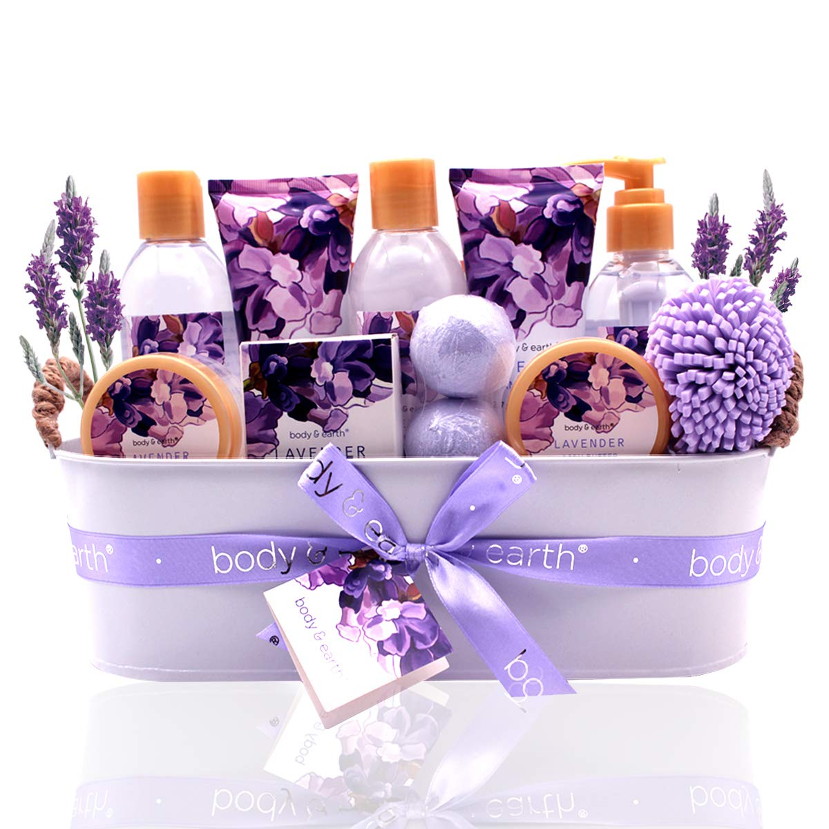 Bath Spa Gift Basket, Body & Earth Bath Gift Set 12 Pcs Lavender Scented, Includes Shower Gel, Bubble Bath, Bath Salt, Bath Bomb, Body Lotion and More, Bath and Body Gift Idea for Birthday Christmas