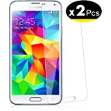 NEW'C PanzerglasFolie Schutzfolie für Samsung Galaxy S5, [2 Stück] Frei von Kratzern Fingabdrücken und Öl, 9H Härte, HD…