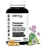 Melatonina Complex | 120 cápsulas veganas para 4 meses | Con 5-HTP, Valeriana, Melisa, Pasiflora, Amapola Californiana, Lúpul