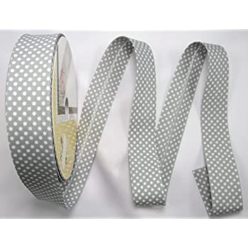 Schrägband Einfassband Borte grau mit weißen Punkten 30 mm