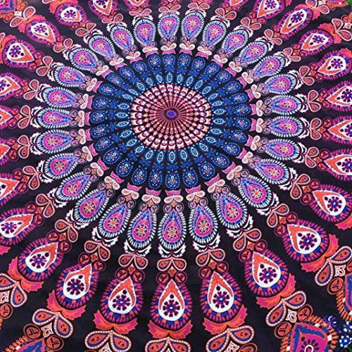 Xinan Hippie Ronde Tapisserie Ronde Mandala Plage Serviette Yoga Mat Bohème Nappe Violet