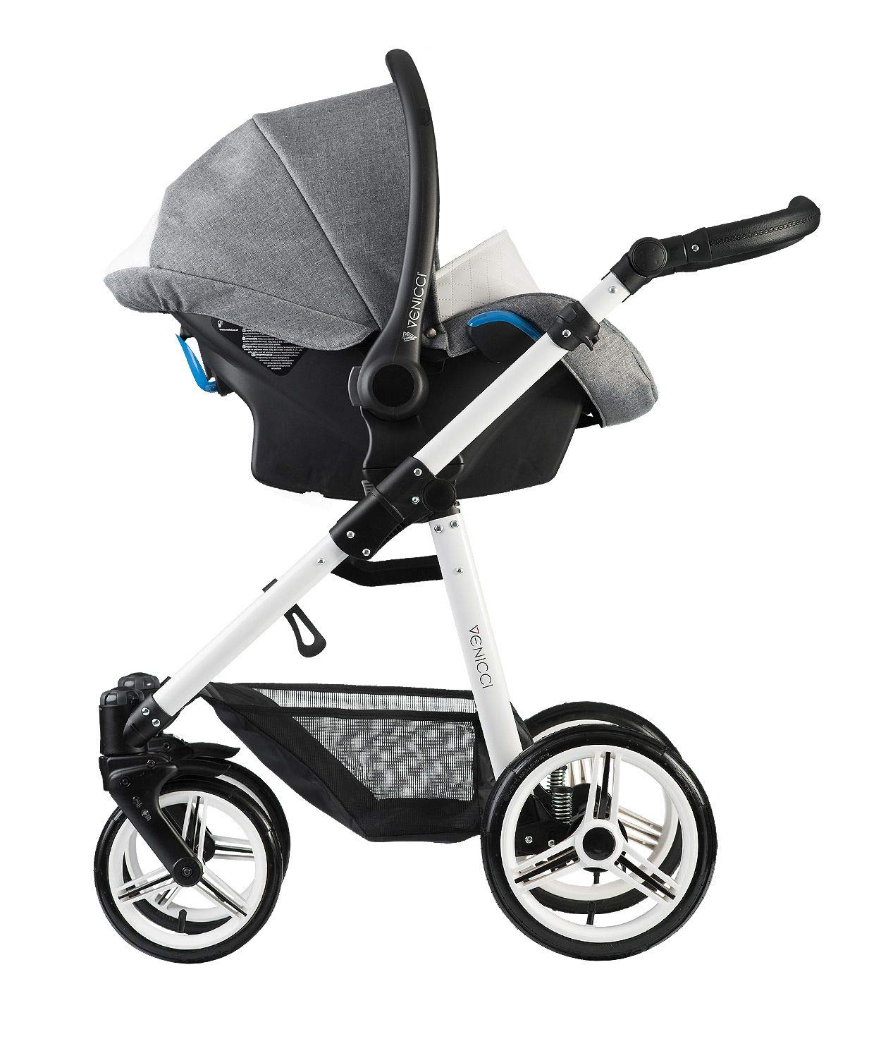 Venicci Pure 3-in-1 Travel System - Denim Grey - with Carrycot + Car Seat + Changing Bag + Apron + Raincover + Mosquito Net + 5-Point Harness and UV 50+ Fabric + Car Seat Adapters + Cup Holder Venicci 3 in 1 Travel System with included Group 0+ Car Seat Suitable for your baby from birth until 36 months 5-point harness to enhance the safety of your child 4