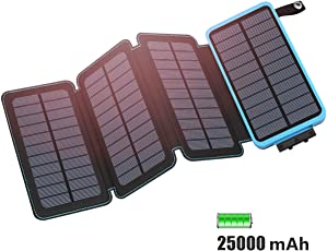FEELLE 25000mAh Solar Ladegerät, Solar Power Bank with 4 Solarzellen Schnellladung Externer Battery Pack 2-Port 2,1 A Output mit Lighting Kompatibel mit Allen Smartphones, Tablets usw (Wasserdicht)