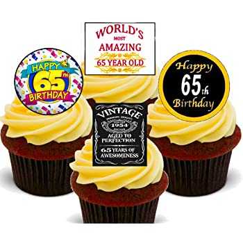 65th Birthday Male Funny Edible Cupcake Toppers Stand Up Wafer