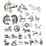 Ciondoli a forma di cavallo in argento anticato, 100 g, accessori per gioielli fai da te