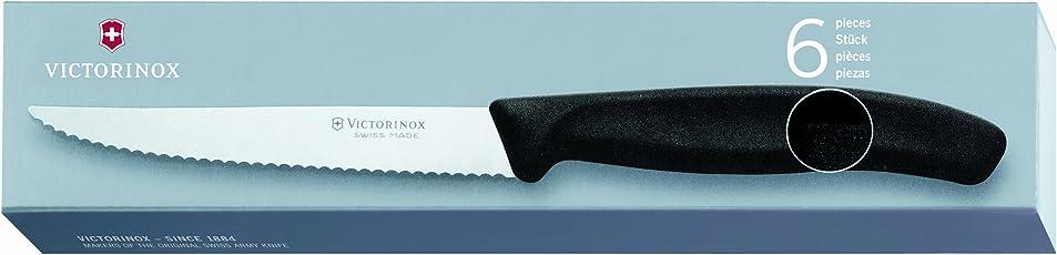 Victorinox Steakmesser Swissclassic Spitz 6er Pack, Schwarz, 6.7233.6