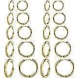 Set di 10 paia di orecchini rotondi a cerchio, per donne e uomini, ragazze, leggeri, in acciaio inox, per cartilagine…