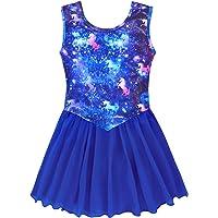 Nidoul Official Gymnastics Leotards Dress for Toddler/Girls Sparkly Unicorn Rainbow Skirted Dance Ballet Dress