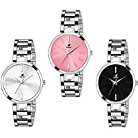 Espoir Analog Stainless Steel Combo Pack of 3 Multi Colour Dial Girl's and Women's Watch - Manisha Combo White Pink…