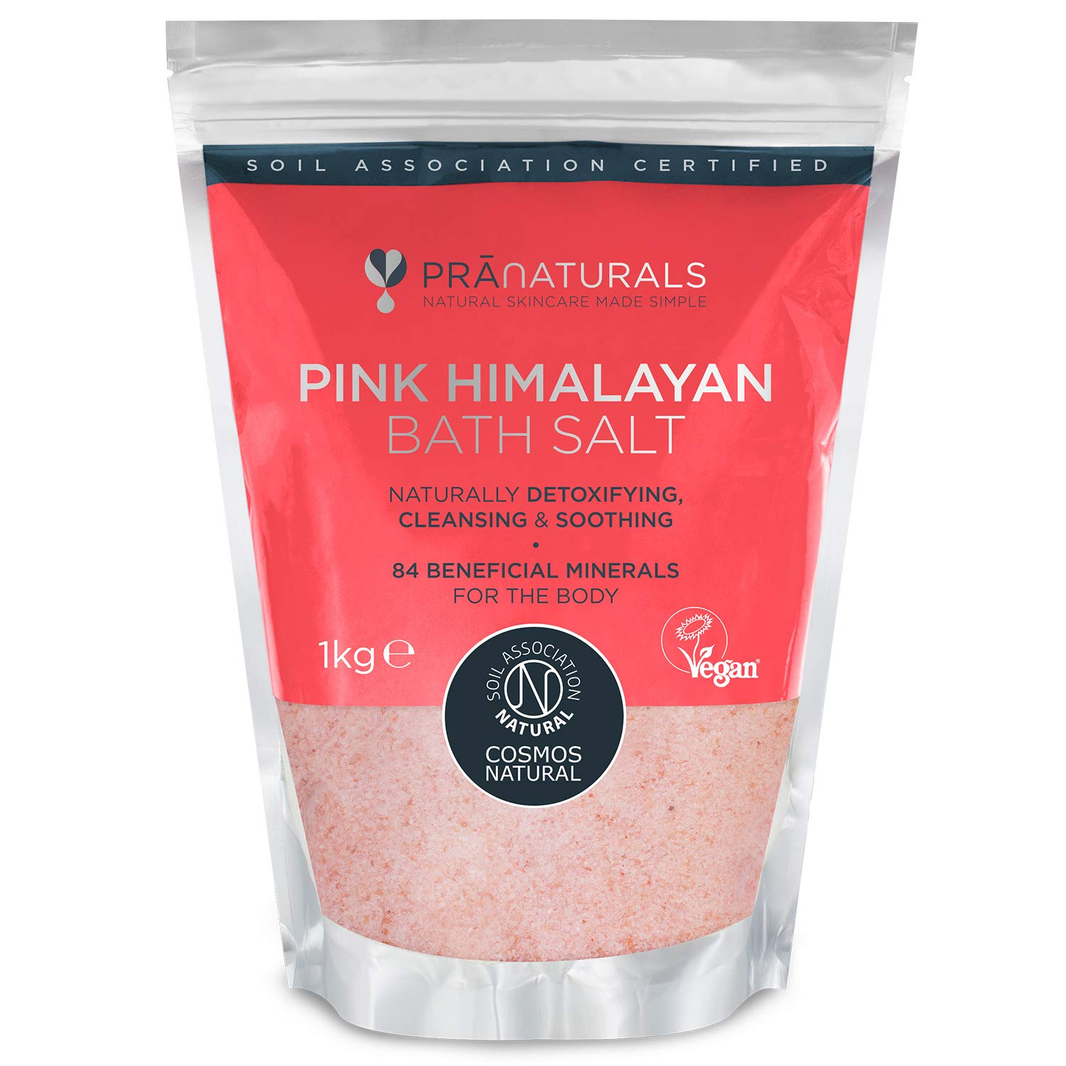PraNaturals Himalayan Pink Salt [1KG] COSMOS NATURAL & VEGAN Certified Premium Fine Grade Bath Salts in Resealable Pouch – Naturally Organic, Unrefined, Non-GMO, No Additives – Rich in Minerals & Iron
