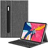 Fintie Bluetooth Tastatur Hülle für iPad Pro 11 2018 (Lademodus des Apple Pencils 2. Gen Wird unterstützt) - Ultradünn Keyboard Case mit magnetisch Abnehmbarer drahtloser Tastatur, Denim dunkelgrau