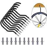 Globalflashdeal Crochet pour Vélo, Paquet De 10 Supports De Vélo Robustes Crochets De Rangement pour Vélo avec Paquet De 10 D