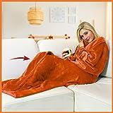 WALSER 13686 Manta con Mangas, Manta de sofá Suave, cubrecama esponjosa, Manta de vellón Caliente, Manta de Vida, Naranja, 17