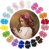 URAQT Lazos de Pelo de Grogrén, 40 Piezas Clips de Cinta de Grogrén para el cabello, Horquillas Niña Bebé, Multicolor Clips d