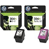 HP - Lot de 2 cartouches d'encre - 304XL noir et 304XL couleur