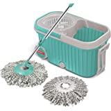 Spotzero by Milton Elite Spin Mop with Bigger Wheels and Plastic Auto Fold Handle for 360 Degree Cleaning (Aqua Green, Two Re