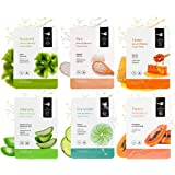 MINISO Natural Beauty Papaya, Rice, Aloe vera, Honey, Seaweed, Cucumber Facial Mask Combo (6 Pieces)