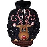 Pizoff Unisex Christmas Hoodie 3D Printing Sweatshirt Jumpers Adults Xmas Hoody
