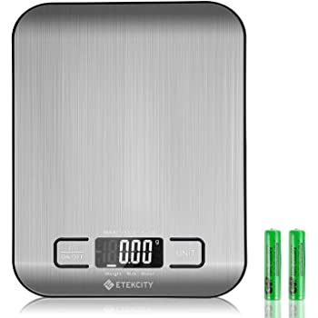 etekcity digital multifunction food kitchen scales stainless steel cooking scales 11lb 5kg silver batteries included