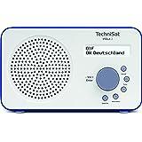 TechniSat VIOLA 2 Digital-Radio (klein, tragbar) mit Lautsprecher, UKW, DAB+, zweizeiligem LC-Display und Tastensteuerung, weiß/blau